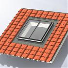 Finestra da tetto fissa in alluminio - rendering tetto a falda